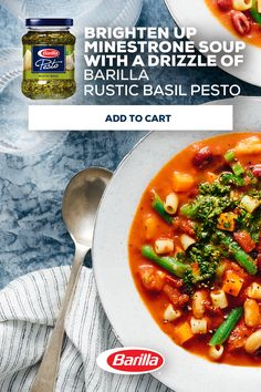 Vibrant & bold with garlic notes, made with Italian basil; Barilla's Rustic Basil Pesto is an easy way to give soup a pop of flavor. Shop now! Crockpot Recipes, Soup Recipes, Diet Recipes, Vegan Recipes, Cooking Recipes, Recipies, Vegetarian Recepies, Vegan Soups, I Love Food