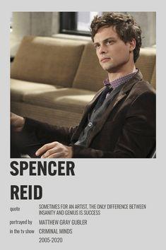 Criminal Minds Memes, Spencer Reid Criminal Minds, Dr Spencer Reid, Matthew Gray Gubler, Matthew Grey, Crimal Minds, Movie Prints, Minimal Poster, Alternative Movie Posters