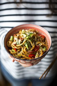 Hot & Spicy Peanut Butter Noodles...Thick udon noodles coated in a delicious nutty sauce.   DonalSkehan.com