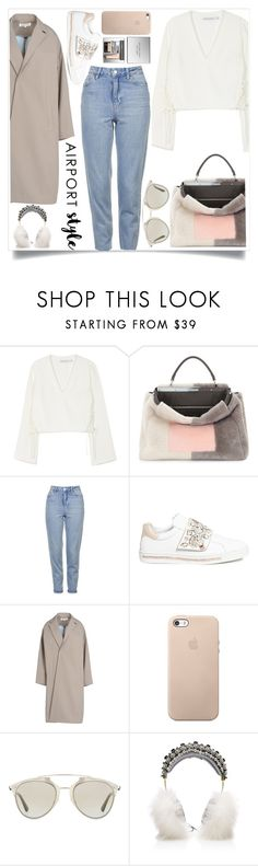 """""""Airport Style"""" by tamaramanhardt ❤ liked on Polyvore featuring Finders Keepers, Fendi, Topshop, René Caovilla, Enföld, Christian Dior, Dolce&Gabbana and Burberry"""