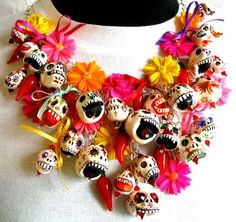 Mexican Sugar Skulls Flowers beaded necklace