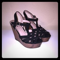 Black Wedges Sexy black wedges! In great shape. Adjustable buckles. Loved these, but hardly wear heels anymore. Smoke free and pet free home. I accept all reasonable offers!  Charlotte Russe Shoes Wedges