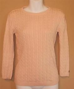 Ralph Lauren Polo Pink Cotton Cable Knit Sweater Size Small