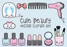 Prime Vector Clipart - Clipart de beauté Kawaii - Kawaii beauté Clip art Set…