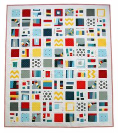 Red Pepper Quilts: Kona Modern Quilts ~ A Fun(ky) Finished Quilt    Beautiful design and color.  Also, love! the quilting.