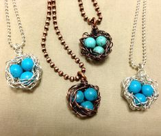 Bird's Nest Pendant/Necklace, sterling silver or copper, turquoise beads.