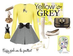 """""""Yellow & Gray"""" by mackodom on Polyvore"""