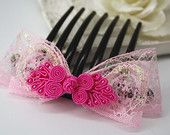 pink chinese knots lace bow hair comb, fuchsia statement headpiece updo cute button hair piece jewellery accessory