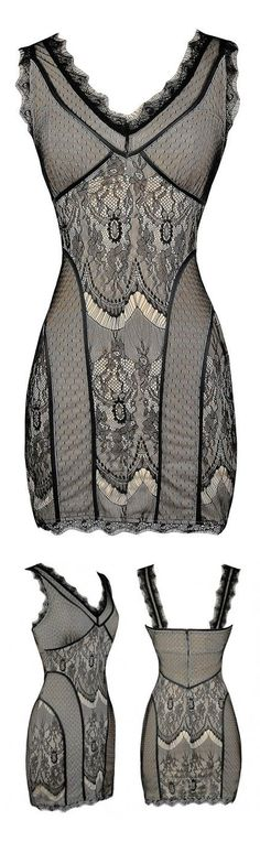 Black and Beige Lace Bodycon Dress. I might need a girdle, but I could totally pull this off lol