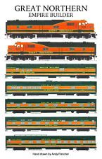 The Great Northern Empire Builder train. Hand drawings by Andy Fletcher Great Northern Railroad, Train Drawing, Train Posters, Railroad History, Railroad Photography, Minneapolis, Old Trains, Electric Train, Train Pictures