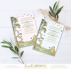 Winnie the Pooh Baby Shower Invitation, Classic Winnie the Pooh Baby Shower Invitation, Storybook Baby Shower Invitation, Winnie the Pooh by PrisellieDesigns on Etsy