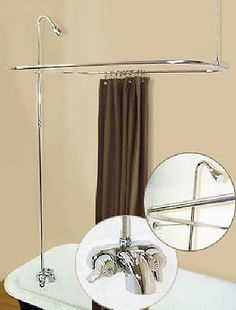 American Modern wall-mount chrome clawfoot tub faucet exposed ...