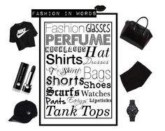 """""""Fashion In Words"""" by varazarana ❤ liked on Polyvore featuring NIKE, Marc Jacobs, L'Agence, Givenchy, adidas, STELLA McCARTNEY, white, black, words and women"""