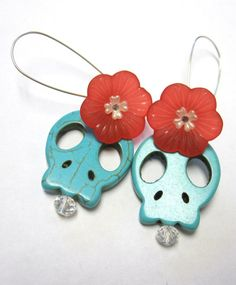 Sugar Skull Earrings Day Of The Dead Turquoise by sweetie2sweetie, $9.99