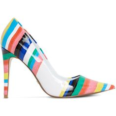 DUNE Brazil Rio stripe patent courts (745 CNY) ❤ liked on Polyvore featuring shoes, pumps, high heel stilettos, patent leather shoes, high heeled footwear, patent pumps and pointed toe high heel pumps