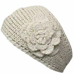 Amazon.com: Ivory Hand Made Knit Headband With Flower Detail: Clothing