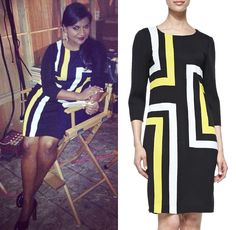 We have our very first outfit from season 3 of The Mindy Project! And a new designer added to Dr Lahiri's wardrobe too!  Misook Graphic Lines Dress   http://themindyprojectstyle.com