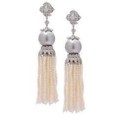 Gray Tahitian Pearl and Diamond Earrings | From a unique collection of vintage drop earrings at https://www.1stdibs.com/jewelry/earrings/drop-earrings/