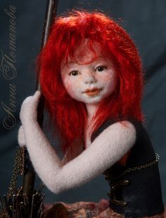 Needle felted doll Witch Glafira, Art Doll, Autor doll, Collectible doll, Interior doll, Figurines, Sculpture, Handmade doll, OOAK doll