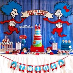from one of my favorite clients on a Super dope Thing 1 Thing 2 girl & boy twins party they styled and baked for. Large tall Thing characters and scroll banner Backdrop by me (You Are My Favorite Banner) Dr Seuss Party Ideas, Dr Seuss Birthday Party, Joint Birthday Parties, Twin First Birthday, Baby Birthday, Birthday Ideas, Cat In The Hat Party, 2nd Baby Showers, Dr Seuss Baby Shower
