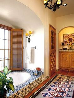 Home Decorating Ideas - The Spanish Style   Terracotta floor ... on spanish designs for small bathrooms, beach inspired bathrooms, mexican home decorations for bathrooms, painted mexican bathrooms, shabby chic bathrooms, spain bathrooms, asian-inspired bathrooms, santa fe style bathrooms, colonial style bathrooms, aztec-inspired bathrooms, mixacan bathrooms, paris inspired bathrooms, mediterranean inspired bathrooms, mexican looking bathrooms, spanish style bathrooms, marble vanity tops for bathrooms, mexican tile bathrooms,