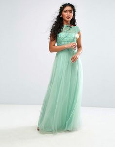 Gorgeous Mint Lace Maxi Dress With Tulle Skirt And Cap Sleeves. Perfect Bridesmaid Dress!
