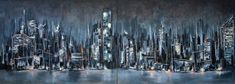 'They came to see giants' - Double panel commission of a city skyline at night. The brief was to use a minimal pale. Oil on canvas with palette knife.