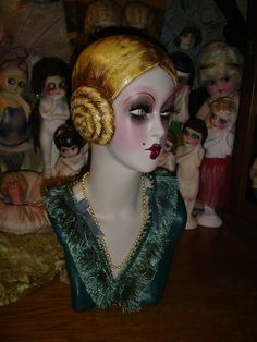 Flapper Mannequin Head Golden Blonde Cubeb Boudoir Doll Style Hat Display. $375.00, via Etsy.