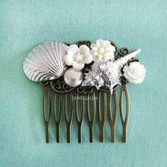 Seashell Bridal Hair Comb Silver Shell Wedding Hair by Jewelsalem