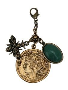 Vintage Inspired Coin with Royal Queen Bee & Green Stone Charm Cluster designed by @classiclegacy