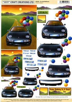 balloon and car Crafts To Do, Paper Crafts, Sports Car Photos, Christmas Sheets, Image Stitching, Decoupage Printables, Image 3d, Boy Cards, Fancy Fold Cards
