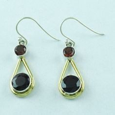 925 STERLING SILVER GARNET GEMSTONE FASHION JEWELRY EARRINGS S.4 cm E 2161 #SilvexImagesIndiaPvtLtd #DropDangle
