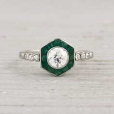Vintage .50 Carat Diamond and Emerald Engagement Ring