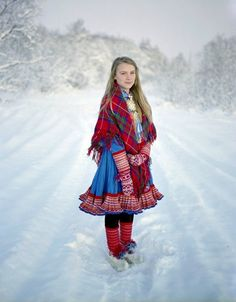 The Sami Reindeer Herders of Scandinavia ~ costume ~ Picture by Erika Larsen, appearing in Nov 11 Nat Geo Folklore, Beauty Around The World, Lappland, Folk Costume, World Cultures, People Around The World, Scandinavian Style, Traditional Dresses, Norway