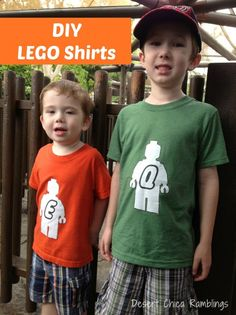 DIY LEGO Shirts, perfect for trips to LEGOLAND, LEGO Kids Fest, LEGO Discovery Center or LEGO Parties! Use my LEGO shirt template and Iron On Transfers to make your own custom LEGO shirts!
