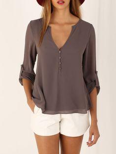 32525e7888136e Brown Long Sleeve High Low Blouse EmmaCloth-Women Fast Fashion Online