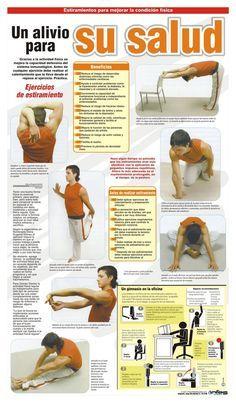 Un alivio para su salud #ejercicios para la oficina #salud Los estiramientos son esenciales para incrementar la flexibilidad y elasticidad de los músculos y tendones. Estos se pueden hacer en casa o en la oficina. Recuerde calentar antes de empezar una rutina de ejercicios para evitar lesiones.