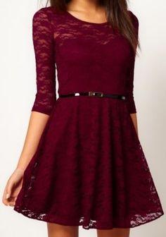 Oxblood Half Sleeve Blet Lace Skater Dress
