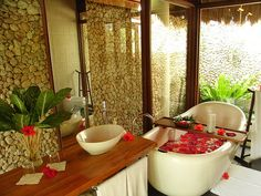 bathroom, flowers, jacuzzi
