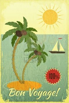 Retro Grunge Travel Postcard - Sea, Palm trees and Yacht on Vintage background. Vector Illustration. Stock Photo