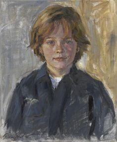 Portret Lennard olieverf en pastel op linnen 45 x 55 cm 2008