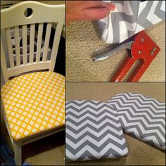 Recovering a dining room chair. I tried to cover the cushion with the yellow fabric but it wasn't working for me. The gray chevron was much better. (Original photo by me)