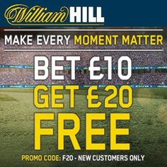 Bet £10 Get £20 Free William Hill Promotion Code Premier League - Claim a Bet £10 Get £20 Bet William Hill - Exclusive. Grab a William Hill Sports Promotion Code for all Free bets on football. William Hill Promotion Codes - £20 free football Bets At William Hill available today, simply click and join William Hill with our latest promo code for free football bets and the best odds guaranteed at William Hill to claim a free £20 football bet.