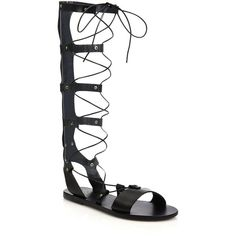 Ancient Greek Sandals Thebes Tall Leather Gladiator Sandals ($158) ❤ liked on Polyvore featuring shoes, sandals, apparel & accessories, black, lace-up sandals, leather sandals, black sandals, leather sole shoes and black gladiator sandals
