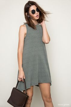 Stripe Mock Dress - Moss Green Fabric Content: 65% Cotton 30% Polyester 5%…
