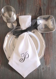 Rachael Monogrammed Embroidered Cloth Napkins Set Of 4