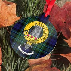 Aluminium Christmas ornament printed with your unique clan crest and tartan - choose from a...