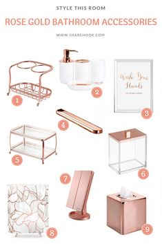 Rose Gold Bathroom Accessories – Sharehook Source by Rose Gold Room Decor, Rose Gold Rooms, Rose Decor, Rose Gold Interior, Gold Bedroom Decor, Glam Bedroom, Gold Home Decor, Bedroom Inspo, Modern Bedroom