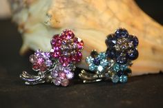 Vintage 2 Rhinestone Flower Pins. Starting at $20 on Tophatter.com!10pm est LIVE AUCTION, link:http://tophatter.com/auctions/18739