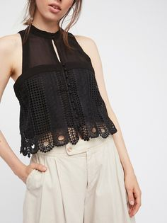 Rory Tank | Sheer, boxy tank featuring front button closures and a cute crochet overlay.